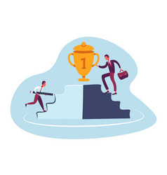 two businessmen competition climbing podium first vector image
