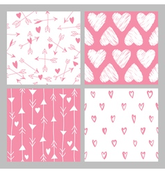 Valentines Day Heart Patterns Set vector image