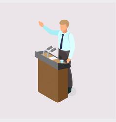 Voting man on podium vector
