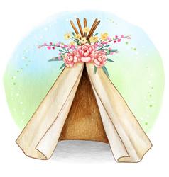 Watercolor boho spring tribal tent vector
