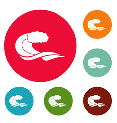 wave composition icons circle set vector image