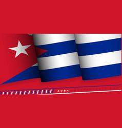Waving cuba flag cuba independence day design vector