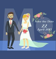 Wedding couple in blue spotlight vector