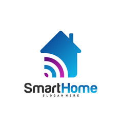 Wifi house logo smart home tech logo house net vector