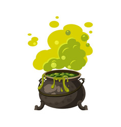 witches cauldron kettle with poisonous smoke vector image