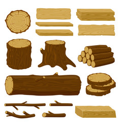 Wood trunks tree lumber logs logging twigs vector