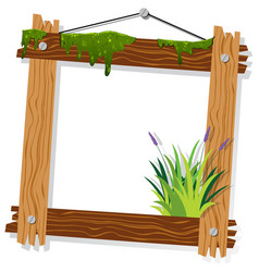 wooden frame with moss and grass vector image