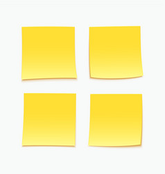 Yellow stick note set of four sticky notes vector