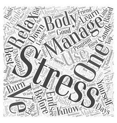 Your days program to Stress management Word Cloud vector