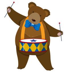 brown bear playing drum vector image