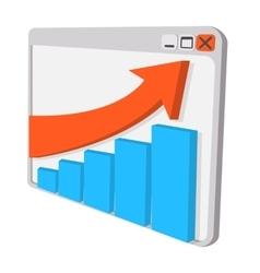 Graph on screen cartoon icon vector image