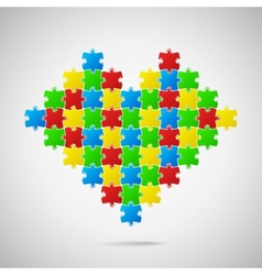 Heart from puzzle pieces vector image vector image