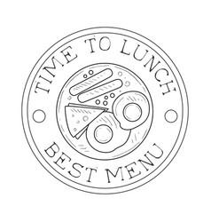 round frame cafe lunch menu promo sign in sketch vector image vector image