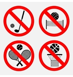 set of signs prohibiting games vector image vector image