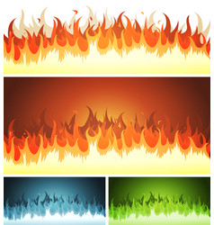 blaze burning fire and flames set vector image