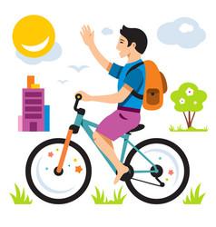 boy on bike flat style colorful cartoon vector image