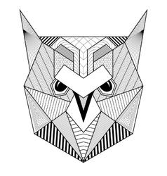 Hand drawn zentangle artistic Owl Bird for adult vector image