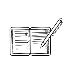 Open notebook with pen sketch image vector image vector image