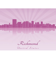 Richmond skyline in purple radiant orchid vector image