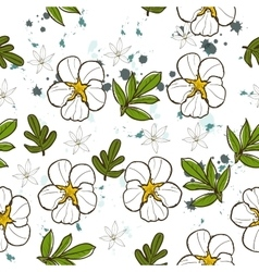 Seamless texture with white flower vector image