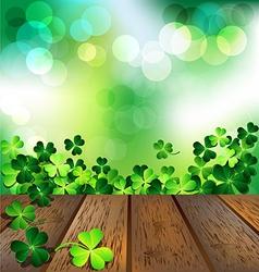 Shamrock on wooden floor for St Patricks Day card vector image vector image