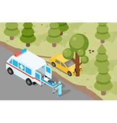 Ambulance Emergency medical accident evacuation vector image vector image