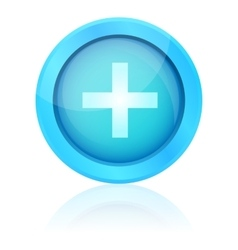 Blue plus icon with reflection vector image vector image