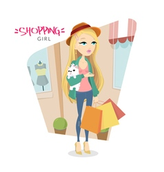 Cute young blonde girl with dog who goes shopping vector image