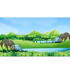 Nature scene with waterfalls and lake vector image vector image