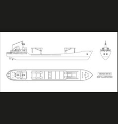 outline drawing of cargo ship on white background vector image vector image