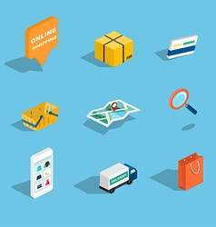 Set of sale and shopping flat 3d isometric icons vector image