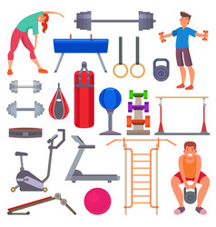 Sport gym equipment flat style icons and vector