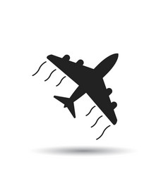 airplane icon flat plane sign symbol with shadow vector image