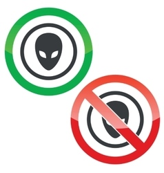 Alien permission signs vector image vector image