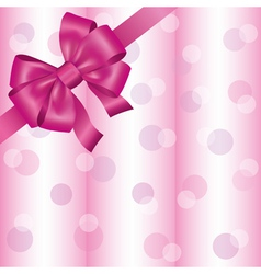 Light pink background with ribbon and bow vector image