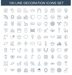 100 decoration icons vector image