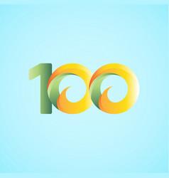 100 years anniversary celebrations yellow green vector