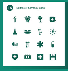 16 pharmacy icons vector image