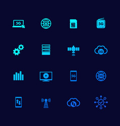 5g network mobile communication icons set vector