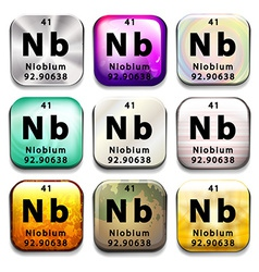 A button with the element niobium vector