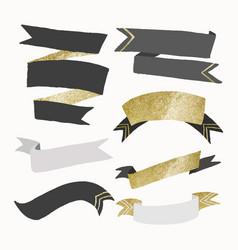 Aesthetic ribbon banner glitter gold design set vector
