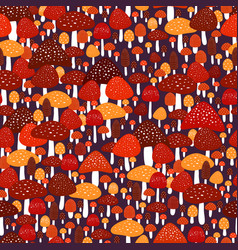 amazing colorful forest meadow with amanita vector image