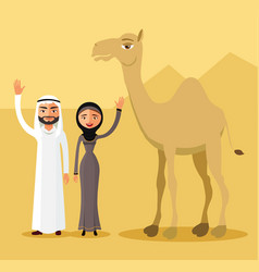 arab couple family muslim people and camel vector image