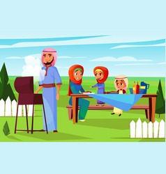 Arabian family barbecue picnic vector