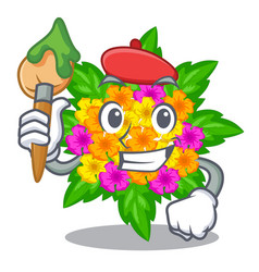 Artist lantana flowers in the mascot pots vector