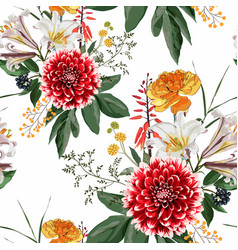 autumn dahlia flowers herbs and hetbs seamless vector image