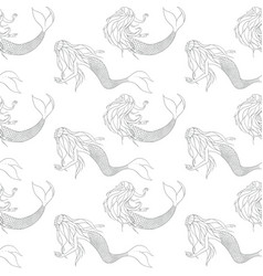 beautiful mermaids contours seamless pattern vector image