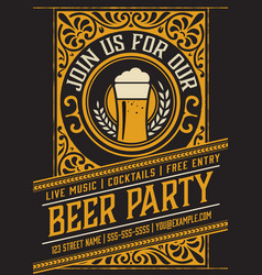 beer party poster template vector image