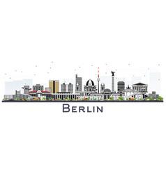 Berlin germany skyline with gray buildings vector