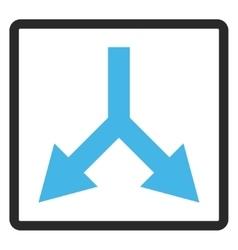 Bifurcation Arrow Down Framed Icon vector